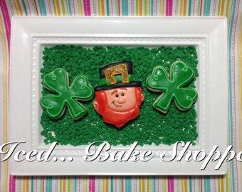 St. Patrick's Day Leprechaun & Shamrock Cookies - 1 dozen