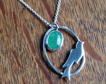 Bird & Green Aventurine Pendant, Handmade, Gemstone, Necklace, Green, Cabochon Stone, Bird jewelry, flight necklace, animal pendant