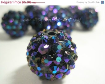 CLEARANCE SALE 18mm - NEW-  10 Rhinestone Resin Balls - Dark Purple Ab - Basketball Wives Inspired