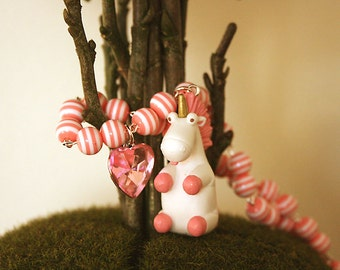 Fluffy unicorn despicable me necklace