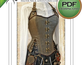 Steampunk Sewing Patterns- Dresses, Coats, Plus Sizes, Men's Patterns Unique Corset Sewing Pattern. Pdf Steampunk Corset. Home Print on USA letter / A4 plus size Large $8.00 AT vintagedancer.com