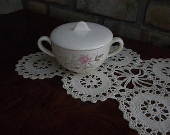 Vintage Pink Rose Sugar Bowl and Lid
