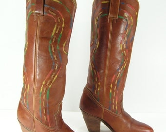 vintage cowboy boots womens 6 m brown rainbow stitching knee high western cowgirl