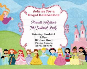 Princess Invitation Birthday-Disney Inspired14 Princesses- Digital File