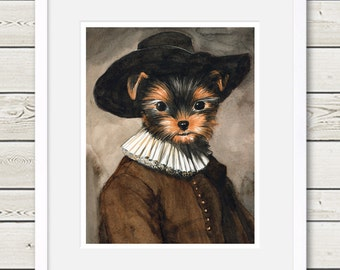 Yorkshire Terrier Art - Yorkshire Terrier Rembrandt - yorkie art, yorkie portrait, yorkie painting, dog art, dog gift, dog painting