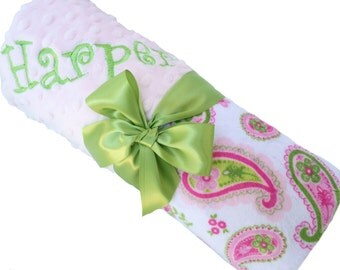 Paisley Print Minky Baby Blanket with Baby Pink Minky Back Personalization Included over 35 fonts to choose fro