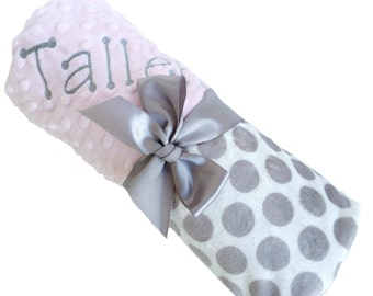 Personalized Baby Blanket Gray and White Minky Polka Dot Baby Blanket with Pink Dot Minky Back Stroller size