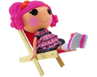 Toy Wooden Folding Doll Chair, dark pink fabric for dolls and stuffed animals