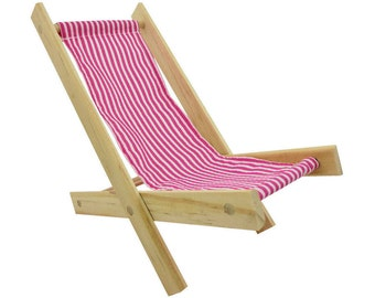 Toy Wooden Folding Doll Chair, pink & white striped fabric