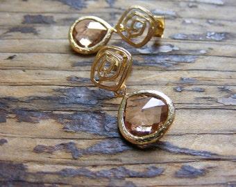 Pink Champagne Glass Earrings.