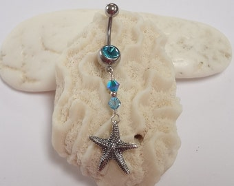 Belly Ring, Starfish Belly Ring, Navel Ring, Belly Ring, Beach Jewelry, Starfish Belly Ring