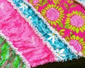Lilly Pulitzer Infant Rag Quilt Brazilian Ave,Soleil, Wave Blue Pool Daze , Chomp Chomp