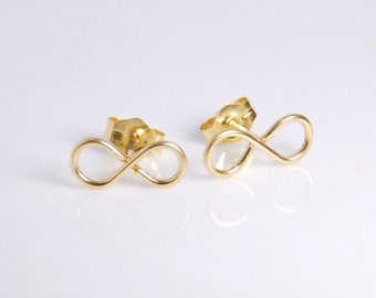 14K gold filled infinity earrings, post earrings, entirely with 14K gold filled material