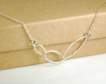 Sterling silver necklace, marquise chain link necklace, circle necklace, entirely made with sterling silver, 0.925 silver necklace, weddings