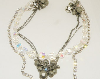 Vintage Shabby Chic Assemblage Choker Necklace Rhinestones Crystal beads upcycled Jewelry
