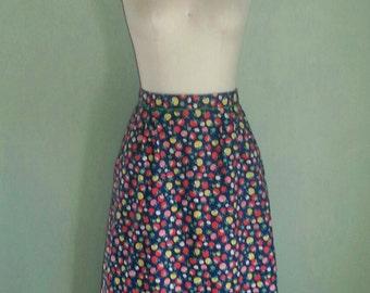 1960s Skirt ~ 60s Spring Skirt ~ Yellow and Red Mushroom Print