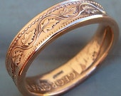 1916 Canadian Large Cent Copper Coin Ring in a size 9