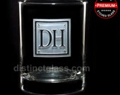 Gifts for Men Dad Father - Double Initial SQUARE MONOGRAM WHISKEY Glasses - Etched Glass by Distinct Glass Studio Ships to Canada