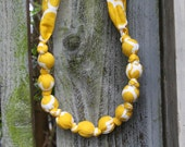 Mustard and White-Mommy and Baby Teething Necklace