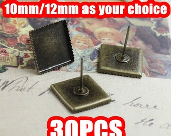 30 Square Earrings- Brass Antique Bronzed 10mm/ 12mm Square Bezel Post Earring (Rubber Ear Nuts included)- Z5936