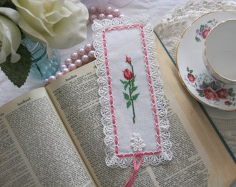 Victorian Rose Lace Cross Stitch Book Mark-Free Shipping