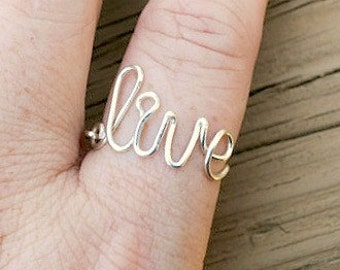 Word Ring, Wire Word Ring Adjustable Live Non Tarnish Silver Plated Wire