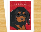 Dog Cards - Black and Tan Cavalier King Charles Spaniel Love Peace Wags - Christmas Holiday Cards