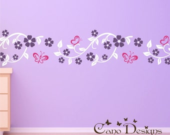 Floral Branch Border Vinyl Wall Decal 12 ft long, kids room, girls room, removable wall decal border