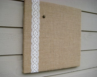 Pinboard in Natural Burlap and Lace, memo board for your office, bedroom or kitchen, wedding decor