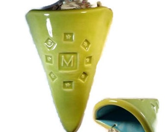 "Initial ""M"" clay flower cone pocket"