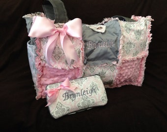Custom pink and gray damask rag quilt diaper bag purse for baby girl and monogramming