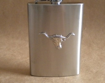 College Tailgating Groomsmen Gift Silver Texas Longhorn Cowboy Country and Western 8 Ounces Stainless Steel Gift Hip Flask KR2D 4624