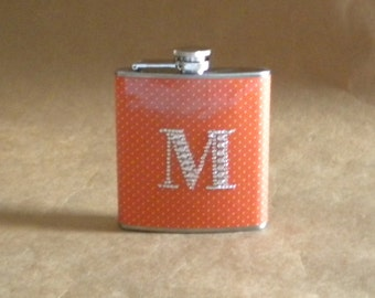 Personalized Bridesmaids Gift Orange and White Pin Dots Print with Rhinestone Initial Gift Flask 6 ounces KR2D 5950