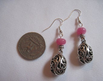 Rose Quartz dangling earrings with hypoallergenic ear wires