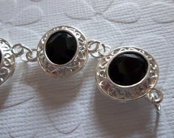 Opaque Black Rhinestone Charms - Oval Silver Connectors with Two Loops - Qty 3