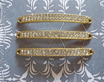 Jewelry Connectors - Long Rectangle Gold Bar Links with Clear Rhinestones - 47 x 4mm - 3 pieces