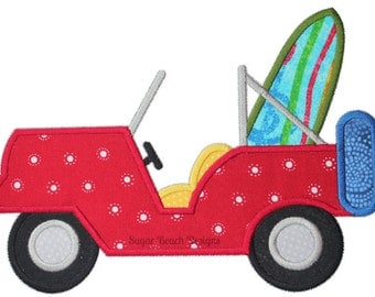 Beach Jeep - Machine Applique Embroidery Design - 4 Sizes (00914)