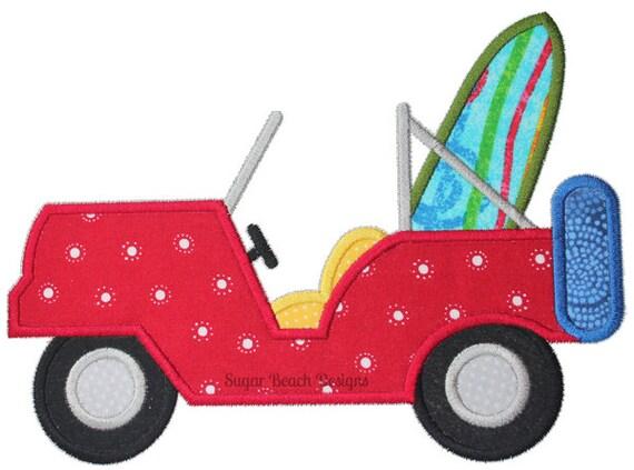 Beach jeep machine applique embroidery design sizes