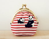 Coin Purse // Panda mama and son  // White and red stripes