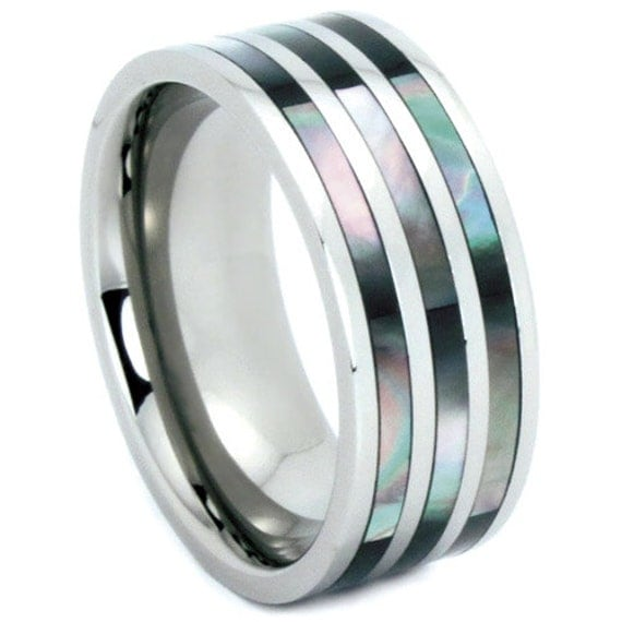 titanium wedding band his and hers abalone shell by usajewelry
