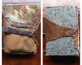 Leather bound sketchbook bag