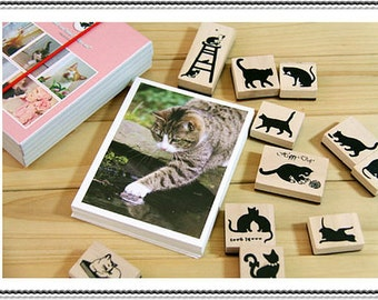 Stamps-- Cute Black cat Kitty Stamps Set // 11pcs Wooden rubber Stamps with 40pcs mini postcard--1set