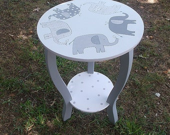 Nursery Tables, ELEPHANT Nursery Decor, Taylor PB Nursery Round nightstand table KIDS and Baby Furniture