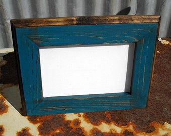 8 x 8  Picture Frame, Teal Rustic Weathered Style With Routed Edges, Rustic Home Decor, Wooden Frames, Rustic Wood Frames, Home Decor
