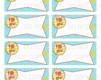 Printable DIY Retro Housewife Party Bridal Shower Fab 50's  Labels AVERY 6873