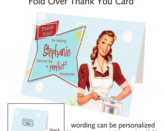 Printable DIY Bridal Shower Retro Housewife Theme Fold-Over Thank You Card - Personalized