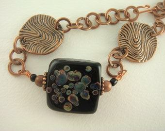 Raku and Copper Bracelet