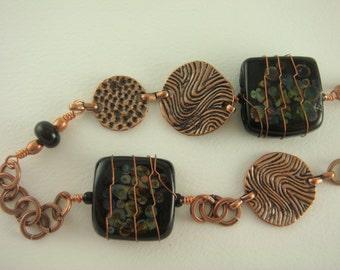 Raku and Copper Necklace