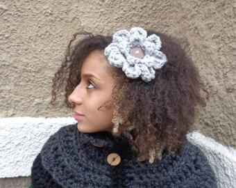 Glitter Flower,Glitter Flower Hair Clip, Big Flower, Crochet Flower Hair Clip, Brooch, Hair Clip, Coconut Button, Glitter