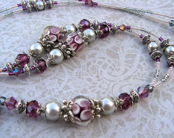 Beaded Lanyard Breakaway Lanyard ID Badge Holder Amethyst Elegance Purple Magnetic Break Away